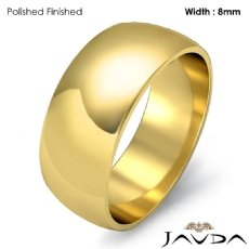 Solid 18k Gold Yellow Plain Dome Mens Wedding Band Polish Ring 8mm 7.5g 4