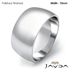 Men Plain Dome Polish Wedding Band Solid Ring 10mm 14k White Gold 7.7g 4sz