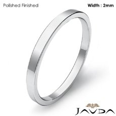14k White Gold Men Solid Ring 2mm Plain Pipe Cut Flat Wedding Band 1.6g 4sz