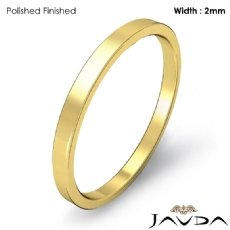 18k Gold Yellow Men Solid Ring 2mm Plain Pipe Cut Flat Wedding Band 2.1g 4