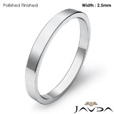 Plain Ring 2.5mm Men Wedding Flat Fit Pipe Cut Band 14k White Gold 3.3g 4sz