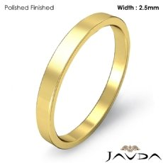 Plain Ring 2.5mm Men Wedding Flat Fit Pipe Cut Band 18k Gold Yellow 4.1g 4