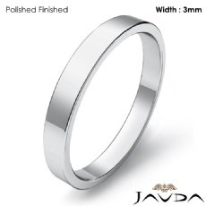 3mm Men Plain Solid Wedding Band Platinum 950 Flat Pipe Cut Ring 3.8g 4