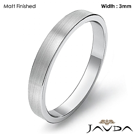 3mm Men Plain Solid Wedding Band 14k White Gold Flat Pipe Cut Ring 2.4g 4sz