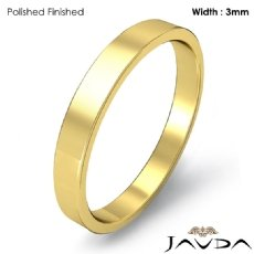 3mm Men Plain Solid Wedding Band 18k Gold Yellow Flat Pipe Cut Ring 3g 4
