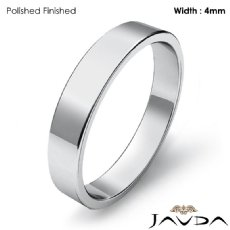 Simple Plain Flat Pipe Cut 4mm Mens Wedding Band Platinum 950 5.1g 4