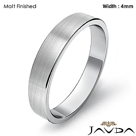 Simple Plain Flat Pipe Cut 4mm Mens Wedding Band 14k White Gold 3.2g 4sz