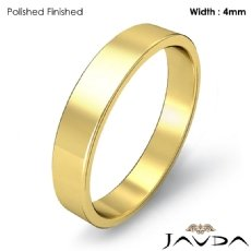 Simple Plain Flat Pipe Cut 4mm Mens Wedding Band 18k Gold Yellow 3.9g 4