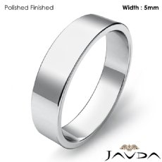 Flat Pipe Cut Ring 5mm Men Simple Plain Wedding Band 14k White Gold 4g 4sz