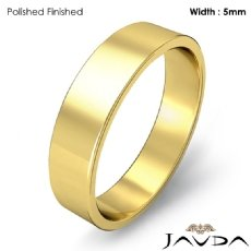 Flat Pipe Cut Ring 5mm Men Simple Plain Wedding Band 18k Gold Yellow 4.8g 4