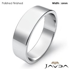 14k White Gold Plain Flat Pipe Cut Wedding Band Men Solid Ring 6mm 4.7g 4sz