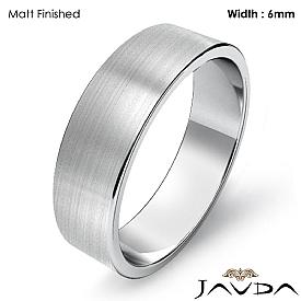 14k White Gold Plain Flat Pipe Cut Wedding Band Men Solid Ring 6mm 4.7g 4sz