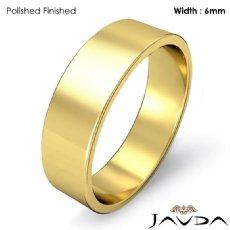 18k Gold Yellow Plain Flat Pipe Cut Wedding Band Men Solid Ring 6mm 5.7g 4