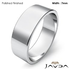 7mm Plain Band Solid 14k White Gold Men Wedding Flat Pipe Cut Ring 5.7g 4sz