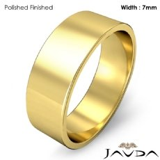 7mm Plain Band Solid 18k Gold Yellow Men Wedding Flat Pipe Cut Ring 6.8g 4