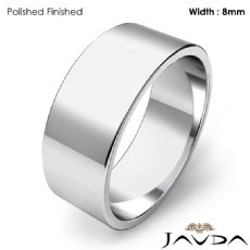 Men Wedding Band Flat Pipe Cut Plain Solid Ring 8mm 14k White Gold 6.4g 4sz