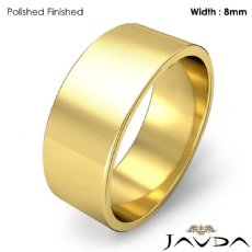 Men Wedding Band Flat Pipe Cut Plain Solid Ring 8mm 18k Gold Yellow 7.5g 4