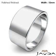 10mm Flat Pipe Cut 14k White Gold Mens Plain Wedding Band Ring 8g 4sz