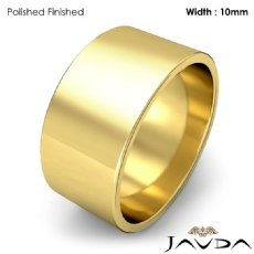 10mm Flat Pipe Cut 18k Gold Yellow Mens Plain Wedding Band Ring 9.4g 4