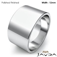 Mens Plain Wedding Band Flat Pipe Cut Ring 12mm 14k White Gold 9.5g 4sz