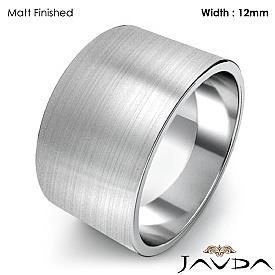 Mens Plain Wedding Band Flat Pipe Cut Ring 12mm 14k White Gold 9.5g 4sz