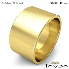 Mens Plain Wedding Band Flat Pipe Cut Ring 12mm 18k Gold Yellow 11.2g 4