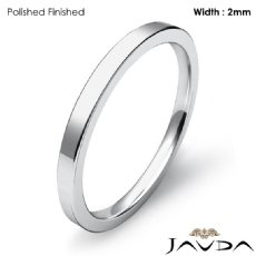 14k White Gold 2mm Men Wedding Ring Comfort Fit Flat Pipe Cut Band 2.1g 4sz
