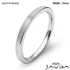 14k White Gold 2mm Men Wedding Ring Comfort Fit Flat Pipe Cut Band 2.1g 4sz