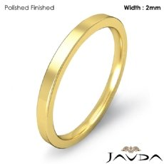 18k Gold Yellow 2mm Men Wedding Ring Comfort Fit Flat Pipe Cut Band 2.7g 4