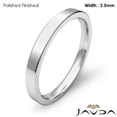 2.5mm Comfort Ring Men Wedding Flat Pipe Cut Band Platinum 950 4.1g 4