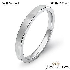 2.5mm Comfort Ring Men Wedding Flat Pipe Cut Band 14k White Gold 2.6g 4sz