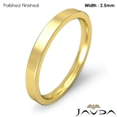 2.5mm Comfort Ring Men Wedding Flat Pipe Cut Band 18k Gold Yellow 3.2g 4