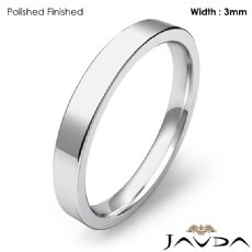Wedding Band 3mm Men Comfort Fit Flat Pipe Cut Ring 14k White Gold 3.1g 4sz