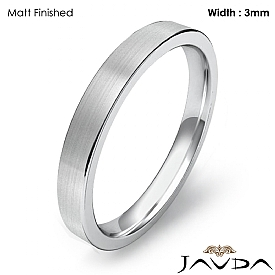 Wedding Band 3mm Men Comfort Fit Flat Pipe Cut Ring 14k White Gold 3.1g 4sz