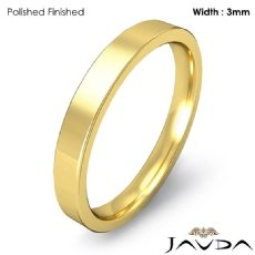 Wedding Band 3mm Men Comfort Fit Flat Pipe Cut Ring 18k Gold Yellow 3.7g 4