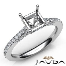 Diamond Engagement Pave Setting 14K White Gold Princess Semi Mount Ring 0.65Ct