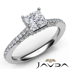 Circa Halo Classic Sidestone Princess diamond engagement Ring in 14k Gold White