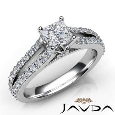 Side Stone Bezel Prong Set Princess diamond engagement Ring in 14k Gold White