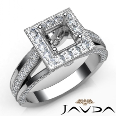 Halo Pave Diamond Engagement Princess SemiMount Millgrain Ring 14K W Gold 0.90Ct