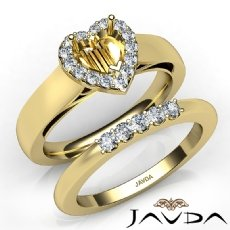 U Prong Diamond Engagement SemiMount Ring Heart Bridal Set 14k Gold Yellow  (0.4Ct. tw.)