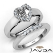 U Prong Diamond Engagement SemiMount Ring Heart Bridal Set 14k White Gold 0.4Ct - javda.com