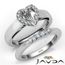 U Prong Diamond Engagement SemiMount Ring Heart Bridal Set 14K White Gold 0.40Ct