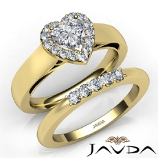 U Prong Bridal Set Halo Heart diamond engagement Ring in 14k Gold Yellow