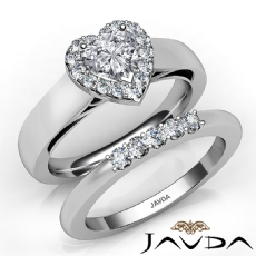 U Prong Bridal Set Halo Heart diamond engagement Ring in 14k Gold White