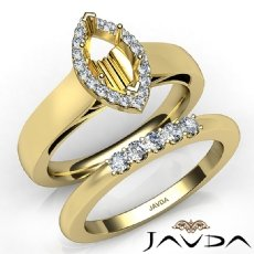 U Prong Diamond Engagement Semi Mount Ring Marquise Bridal Set 14k Gold Yellow  (0.45Ct. tw.)