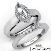 U Prong Diamond Engagement Semi Mount Ring Marquise Bridal Set 14k White Gold 0.45Ct - javda.com