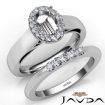 U Prong Diamond Engagement Semi Mount Ring Oval Bridal Set 14k White Gold 0.43Ct - javda.com