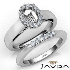 U Prong Diamond Engagement Semi Mount Ring Oval Bridal Set 14K White Gold 0.43Ct