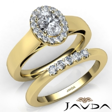 Bridal Set Halo Pave Filigree Oval diamond engagement Ring in 14k Gold Yellow