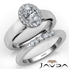 Bridal Set Halo Pave Filigree Oval diamond engagement Ring in 14k Gold White
